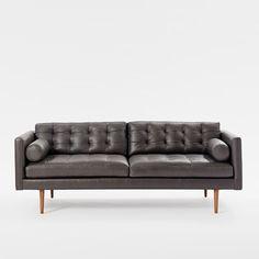 Sofa Pillows Monroe Mid Century Leather Sofa