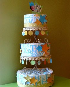 Boy Themed Diaper Cake Tutorial