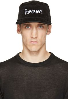 Five-panel corduroy cap in black. Signature 'Parisien' text embroidered in white at front. Adjustable cinch strap at back. Eyelet vents at sides. Fully lined. Tonal stitching. 100% cotton. Imported. #youhabit #2dQCqI2g3