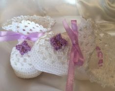 Crocheted Baby Booties, Christening Booties, White Booties with Purple Flower, lilac Baby Booties, Heirloom Booties, Blessing Bootie,
