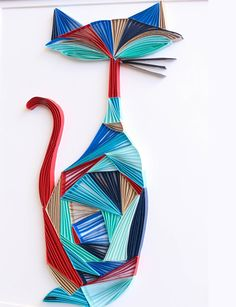 The Cool Cat - Unique Mid Century Modern Paper Quilled Wall Art (paper quilling handcrafted piece made with love by an artist in California)