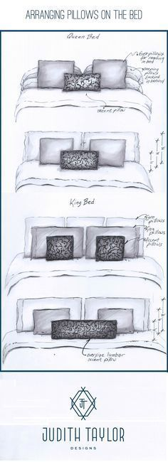 Arrangement and sizing for pillows on Queen and King bed. www.judithtaylordesigns.com