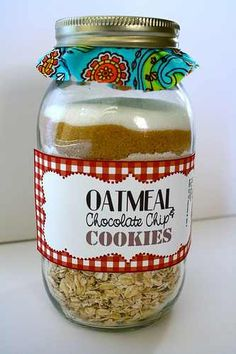 Cookie recipe in a jar! Put on tag the rest of recipe & cooking instructions. So cute!!