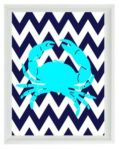 Nautical Nursery Chevron Crab Art Print Set - Beach Aqua Navy Blue - Children Room Beach House- Wall Art Home Decor 8x10 via Etsy