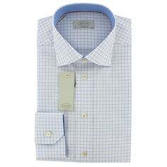 Eton Shirt - Blue Grid Check - Contemporary Fit