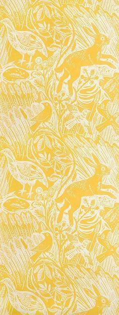 Harvest Hare Wallpaper Excellent lino print wallpaper with Mark Hearld rabbit and bird design in Corn Yellow. Harvest Hare Wallpaper Excellent lino print wallpaper with Mark Hearld rabbit and bird design in Corn Yellow. Bird Wallpaper, Wallpaper Decor, Print Wallpaper, Bedroom Wallpaper, Wallpaper Ideas, Kitchen Wallpaper, Mustard Wallpaper, Dance Wallpaper, Rabbit Wallpaper
