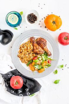 Pieczone podudzia z kurczaka z pomarańczowym ryżem Tandoori Chicken, Curry, Lunch, Ethnic Recipes, Dinners, Food, Dinner Ideas, Food Food, Dinner Parties