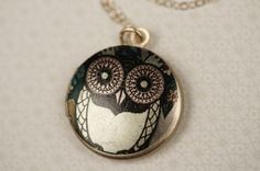 Small Green Whimsical Owl Locket Girl's Necklace by FreshyFig, $32.00