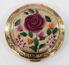 Reverse carved lucite #antique #vintage #compact