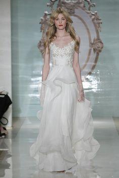 Ruffles, ruffles, and more ruffles on this Reem Acra wedding gown. (Photo: Dan Lecca)