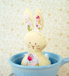 Bunny Natural  Yellow Wool Easter Basket Gift by sewfaithful on etsy.