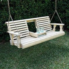Porchgate Amish Heavy Duty 800 Lb Rollback Console Treated Porch Swing With Hanging Chains (Unfinished)