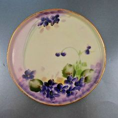 Antique Porcelain Dresser Vanity Tray Lavender and Purple Hand Painted Violets