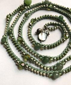 Etsy の Sage boho wrap bracelet / necklace crochet by CoffyCrochet