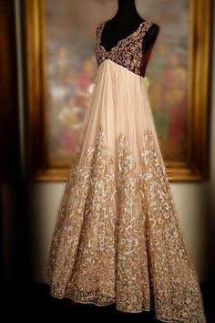 Cream and Red Bridal Gown by Shyamal and Bhumika - Gujarati Dresses Indian Bridal Lehenga, Red Lehenga, Indian Bridal Wear, Indian Gowns, Anarkali Dress, Pakistani Bridal, Lehenga Choli, Indian Wear, Pakistani Suits