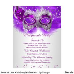 Sweet 16 Lace Mask Purple Silver Masquerade Card Sweet 16, Sweet Sixteen Masquerade 16th Birthday Party. Invitation. Masquerade Party Invitation. Pretty purple lace and jewel mask with sparkle feathers. Customize with your own details and age. Template for Any age Birthday, Sweet 16, 16th, Quinceanera 15th, 18th, 20th, 21st, 30th, 40th, 50th, 60th, 70th, 80th, 90, 100th