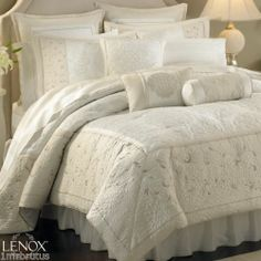 Lenox Solitaire KING Comforter Set Embroidery Quilt Beige White - Opal Innocence $254