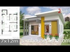 House design plan with 4 bedrooms. Style Modern Tropical House description: Number of floors 2 storey house bedroom 4 rooms toilet 3 rooms maid's room 2 Bedroom House Plans, Small House Plans, Simple House Design, Modern House Design, Modern Tropical House, Beautiful House Plans, Maids Room, Bungalow House Design, Story House