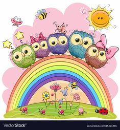 Find Five Cute Owls Sitting On Rainbow stock images in HD and millions of other royalty-free stock photos, illustrations and vectors in the Shutterstock collection. Thousands of new, high-quality pictures added every day. Owl Cartoon, Cute Cartoon Animals, Owl Wallpaper, Owl Pictures, Owl Art, Cute Owl, Cute Images, Cute Illustration, Belle Photo