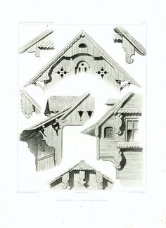 """Authentic lithograph taken from the """"Architecture Suisse Constructions Rustiques"""". Collection of 50 copper engravings displaying traditional Swiss Chalets architectural sty. Chalet Design, Chalet Style, Cottage Plan, Cottage Homes, Cottage Farmhouse, Cottage Style, Architecture Portfolio, Architecture Design, Switzerland House"""