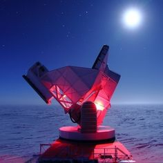 The South Pole Telescope is located at the Amundsen-Scott South Pole Station, Antarctica. This cold, dry location facilitates observations of the cosmic microwave background. Image Internet, Polo Sul, Cosmic Microwave Background, Radio Astronomy, Dark Energy, Old Lights, Infancy, Astrophysics, Tecnologia