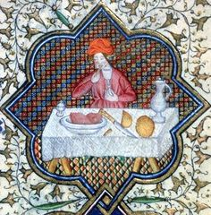 """Diners ate with their fingers, but with the first three fingers of the right hand only."" Detail from January, in the Livre d'heures de Marguerite d'Orléans, c. 1426 (Rennes, France). BnF MS Latin 1156 B fol. 1. Bibliothèque nationale, Paris. Quote above trans. from online exhibition: Gastronomie médiévale."