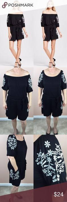 "Black Embroidered Off the Shoulder Romper Spenser Jeremy Black Embroidered Off the Shoulder Romper. With white floral embroidery, open shoulders and the comfortable romper cut, this piece creates an outfit instantly ready for any event.  Could be worn off the shoulder or on.  Tie around the belt.  Measurements (taken lying flat): 15.5"" waist 21.5"" hips 11"" sleeve 31"" length  Materials: 95% viscose 5% spandex  No Trades Spenser Jeremy Pants Jumpsuits & Rompers"
