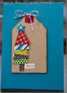 Cute tree tag idea....tree would be cute on a Christmas card too! by Anna Pishchulina