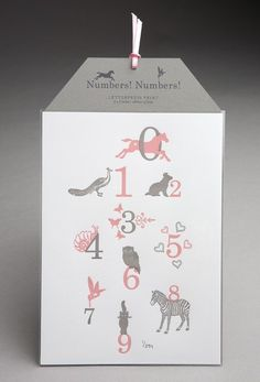 Pink and Grey Numbers Numbers Letterpress Print  by pearlmarmalade