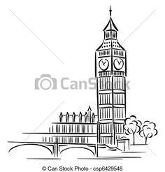 big ben minimalist tattoo line work Doodle Art, Doodle Drawings, Easy Drawings, Big Ben Tattoo, London Drawing, Big Ben Clock, City Sketch, Big Ben London, Clip Art