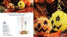 Halloween pumpkins constitute an inherent part of autumn. Make your own pumpkin pendant out of PRECIOSA Twin™ seed beads. Halloween Beads, Holidays Halloween, Halloween Themes, Halloween Pumpkins, Halloween Crafts, Beading Tutorials, Beading Patterns, Beaded Jewelry Designs, Jewelry Ideas