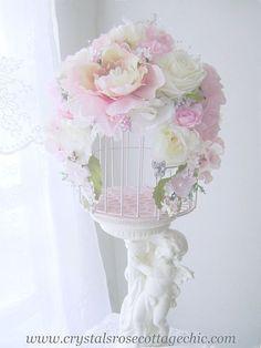 Shabby Pink Chic Romantic Rose Bird Cage Decor