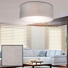 Luxus Decken Leuchte Stoff Schirm Lampe Wohn Ess Zimmer Beleuchtung grau Ø 40cm