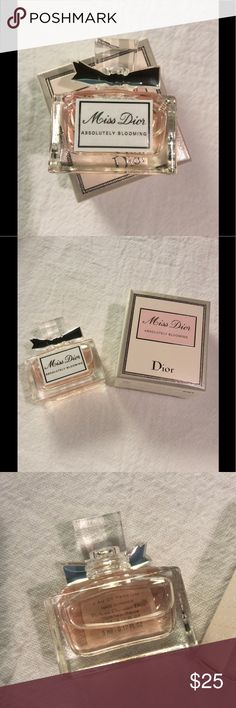 Miss Dior Absolutely Blooming Eau de Perfume Mini New. Unused. No trades. Perfect for travel or for your mini perfume collection. Please note size before purchasing. Price is firm. You will receive the following:  Miss Dior Absolutely Blooming Eau de Perfume Plash Mini in box 0.17 oz Dior Makeup