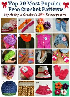 Top 20 Most Popular Free Crochet Patterns from My Hobby is Crochet|2014 Retrospective