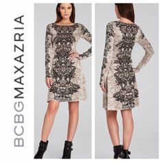 "BCBG Max Azria Regan Long Sleeve Dress NWT. BCBG Max Azria Regan dress. Perfect for the holidays. Etch a flattering femininity in this formfitting floral silk-blend dress. Boatneck. Long sleeves. Allover etched lace jacquard pattern. A-line skirt. Silk, Cotton. Dry Clean. Imported. Measures approximately 36.75"" from shoulder to hem. Classic fit. Never worn. Perfect condition. French cream color combo. cream/taupe/black. BCBGMaxAzria Dresses Long Sleeve"