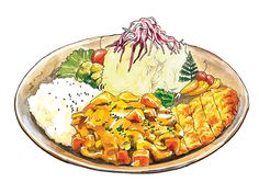 Japanese food illustration: Pork cutlet with curry - Chanmi La