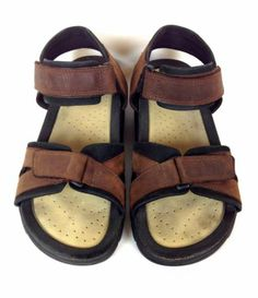 Ecco Shoes Leather Brown Comfort Velcro Athletic Sport Sandals Mens 10 5 11 45 | eBay