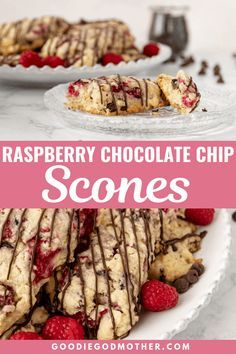 Fresh raspberry chocolate chip scones are a delicious treat to make for breakfast, brunch, or tea! Freezer friendly, and you can use fresh or frozen fruit in this easy scone recipe. * Recipe on GoodieGodmother.com #breakfastideas #bakingrecipes #scones #brunchfood #dessertrecipes #freezerfriendly #makeahead Raspberry Scones Recipe Easy, Fresh Raspberry Recipes, Melting Chocolate Chips, Chocolate Chip Recipes, Chocolate Flavors, Raspberry Chocolate, Dessert Cake Recipes, Frozen Fruit, Recipe Recipe