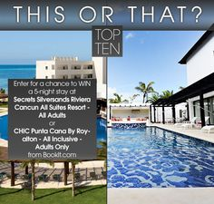 Enter for the chance to win a 5-night stay at Secrets Silversands Riviera Cancun All Suites Resort or CHIC Punta Cana By Royalton! http://woobox.com/uz5xa3/hb1gqh