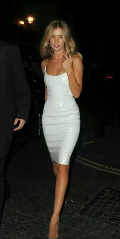 Gorgeous in white leather dress