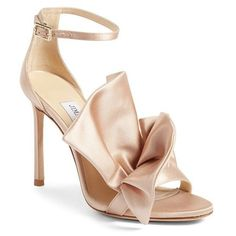 Women's Jimmy Choo Kami Ruffle Sandal ($975) ❤ liked on Polyvore featuring shoes, sandals, dusty rose satin, stiletto high heel shoes, heels stilettos, toe strap sandals, stilettos shoes and stiletto heel sandals