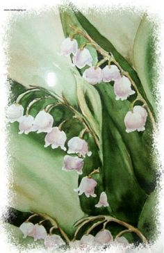 watercolor 5x7 blank note card, dainty lily of the valley flowers, green, leaves, white, thank you card, special occasion, floral garden