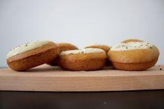 vegan coffee-tahini-tonka baked doughnuts with white chocolate