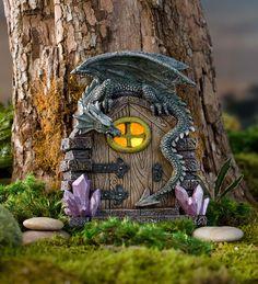 25 Cute DIY Fairy Furniture and Accessories For an Adorable Fairy Garden Fairy Tree Houses, Fairy Garden Houses, Gnome Garden, Garden Art, Garden Ideas, Fairy Garden Doors, Fairy Doors On Trees, Garden Inspiration, Dragon Garden