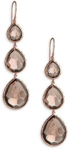 Ippolita Triple Teardrop Rosé Earrings in Pink (rose- smokey quartz) - Lyst