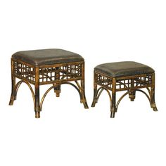 Set of two ottomans with stitch point detail and woven silhouettes.Product:  Small and large ottoman    Construction ...
