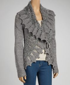 Look at this Simply Couture Gray Crochet Wool-Blend Open Cardigan on #zulily today!