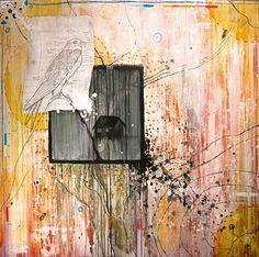 """Windows of Patterns""- By Marissa Kathleen Quinn    Oil and mixed media on wood  4'x4'  marissakathleenquinn.com"