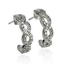 Platinum over Sterling Silver Diamond Accent Hoop Earrings Gift Box - $26 (SOUTH OVERLAND PARK)